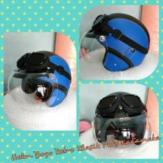 Helm Bogo Retro Kulit Klasik Biru Hitam Plus Kacamata