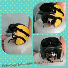Helm Bogo Retro Kulit Klasik Hitam Kuning Plus Kacamata
