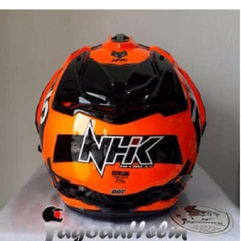 6eb62194 ... Helm NHK Predator CRYPTON 75 Orange FLUO Black HalfFace Dual Visor