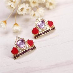 Nya Mia Individualitas Berlian Berwarna Love Heart Mahkota Klasik Wanita Stud Earrings Aksesoris Perhiasan (Emas)-Intl