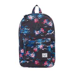 Herschel Heritage Mid-Volume Classic Backpack - Floral Blur-Black Pebbled Leather