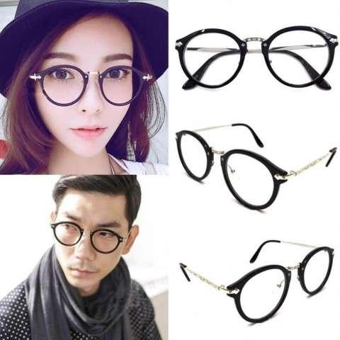 High Quality Charming Women's Round Clear Lens Glasses Metal Frame Nerd Eyeglass Spectacles 830BLK - Kacamata