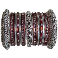 Indian Bridal Koleksi! Panache Maroon Bangles Set Di Silver Nada Oleh BangleEmporium. Medium Ukuran 2.8