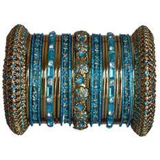 Indian Bridal Koleksi! Panache Turquoise Bangles Set dengan Warna Emas Oleh BangleEmporium. Medium Ukuran 2.8