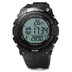 SKMEI Jam Tangan Pria S-Shock Sport Watch 3D Pedometer Male Wristwatch 1112 - Black