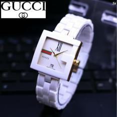 Jam tangan wanita-Fashionable-Tali rantai keramik-Tanggal on-CTL2000GUCI