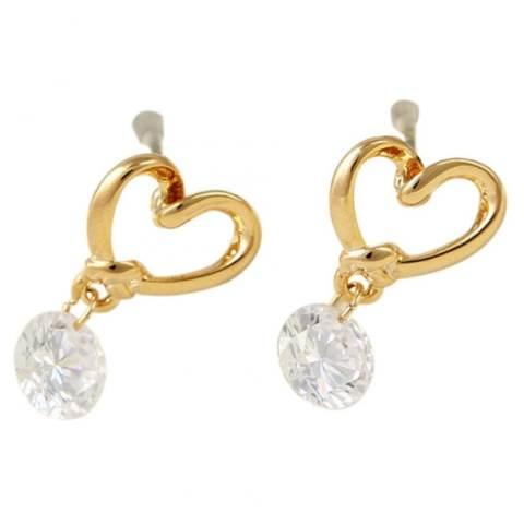 Jetting Buy wanita Subang 925 berlapis perak sangkutan telinga emas berlian imitasi