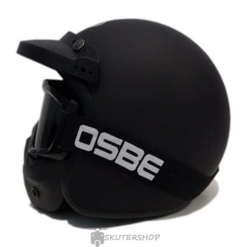 JPN Helm Black Solid With OSBE Goggle Mask Retro Klasik Jap Style Motocross Shark Raw Visor