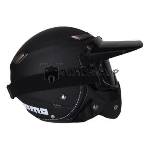 JPN Helm Momo Vintage With Goggle Mask Retro Klasik Jap Style Motocross Shark Raw Visor Smoke