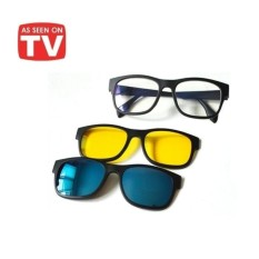 Kacamata Anti Silau HD Vision Magnet 3 in 1 Paling Baru - Magic Vision Glasses