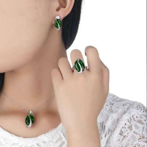 Kalung Anting Cincin Wanita Opal