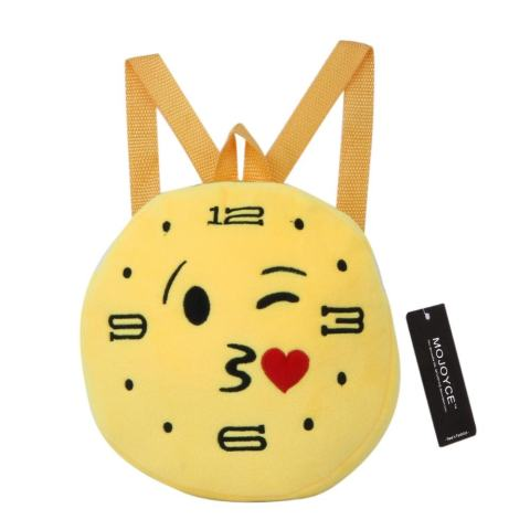 Kindergarten Children Round Emotion Kiss Peach Heart Embroidery Backpack(Yellow) - intl 1