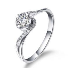 KT S925/18 K Empat Cakar Perempuan Berlapis Platinum Cincin Kawin Miniatur Cincin Berlian