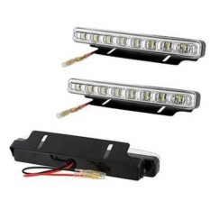 Lampu DRL Mobil 8 Mata LED BONUS Plat Bracket Dudukan LENGKAP