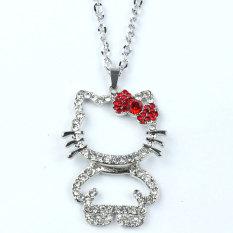 Leegoal Kitty Cat Gambar Kalung Pendant Bowknot, Merah