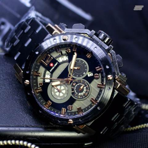 Limited Edition Swiss Army SA1000 Chrono Jam Tangan Pria Stainless Steel Strap ( Rosegold )