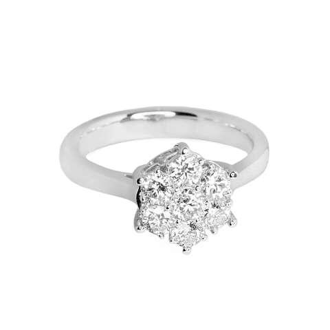 LINO P1606250029 Cincin Berlian Emas Putih 18K VVS T