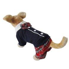 Lovely Bowtie Modis Gaya Kampus PET PUPPY Anjing ClothesJumpsuit Baju Pasangan untuk Musim Semi Musim Gugur Perempuan M-Intl