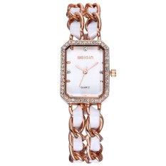 Lovely Clover WEIQIN Womens Rantai Emas Mawar & Putih PU Bangle Bracelet Watches Rhinestone Square Berbentuk Piringan 272303 LCX40X (warna: Seperti Gambar Pertama)-Intl