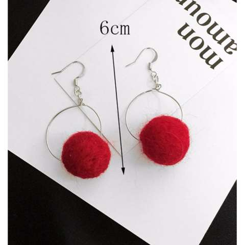 LRC Anting Elegant Brown Fuzzy Ball Pendant Decorated Pure Color Pom Earrings