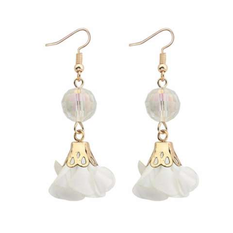 LRC Anting Fashion White Flower & beads Decorated Pure Color Simple Earrings