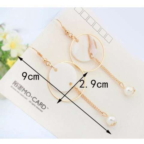 LRC Anting Fashion White Round Shape Decorated Simple Hollow Out Simple Earrings