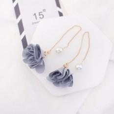 LRC Anting Gantung Elegant Gray Flower Shape Decorated Simple Long Chain Earrings
