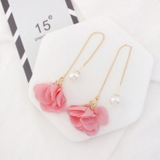 LRC Anting Gantung Elegant Pink Flower Shape Decorated Simple Long Chain Earrings