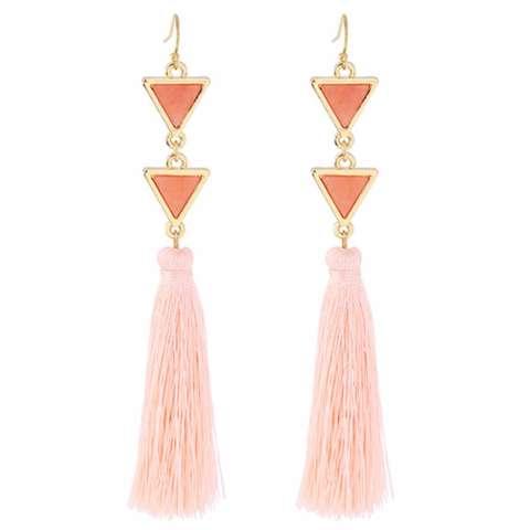 Home; LRC Anting Gantung Elegant Pink Triangle Shape Decorated Long Tassel Earrings