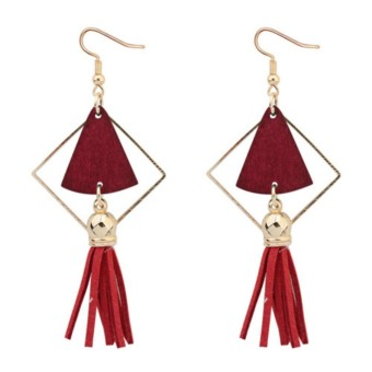 anting simple LRC Anting Gantung Fashion Fan Shape Decorated Hollow Out Tassel Simple Earrings Murah Promo