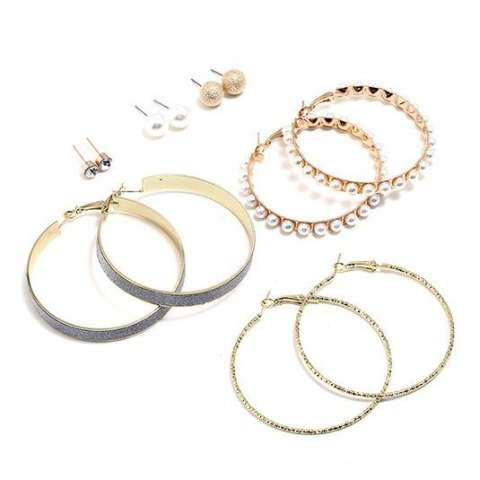 LRC Anting Sets Fashion Gold Color Circular Ring Shape Decorated Earrings ( 12 Pcs )