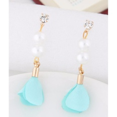 LRC Anting Tusuk Elegant Blue Pearl&diamond Decorated Flower Pure Color Earrings