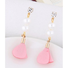 LRC Anting Tusuk Elegant Pearl&diamond Decorated Flower Pure Color Earrings