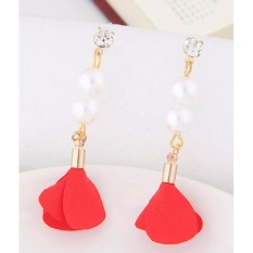 LRC Anting Tusuk Elegant Red Pearl&diamond Decorated Flower Pure Color Earrings