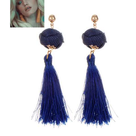 ... Fuzzy Ball&triangle Shape Source · LRC Anting Tusuk Fashion Tassel Decorated Pure Color Earrings