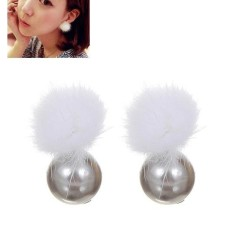LRC Anting Tusuk Lovely Silver Fuzzy Ball Decorated Earrings
