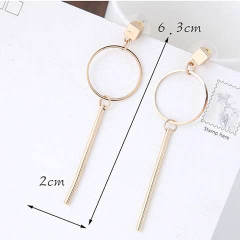 LRC ANTING TUSUK PERSONALIZED GOLD COLOR VERTICAL SHAPE PENDANT DECORATED PURE COLOR EARRINGS