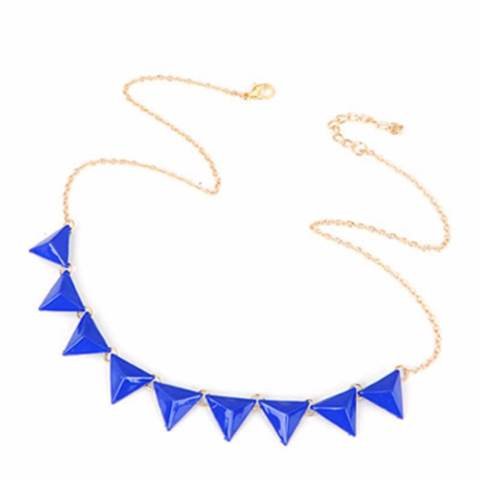 LRC Kalung Korean fashion candy color triangle shape pendant charm necklace