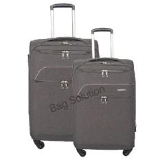 Luminox Tas Koper Set Softcase - 4 Roda Putar - Kunci TSA GGDJ Size 20+24 Inch - Hitam