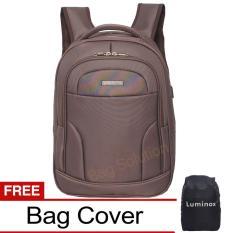 Luminox Tas Ransel Laptop Backpack built in USB Charger Up to 15 inch Anti Air - Tas Pria Tas Wanita 7726 - Coffee Bonus Cover Tas