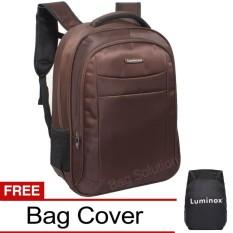 Luminox Tas Ransel Laptop Tahan Air - Tas Pria Tas Wanita 7722 Backpack Up to 15 inch Bonus Bag Cover - Coffee
