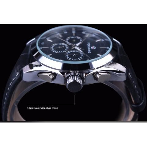 Jam tangan pria mewah jam otomatis merek teratas bisnis deret waktu hitam tali kulit asli 3