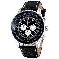 Mens Cool Fashion Automatic Mechanical Wristwatch Black Dial Day&Date Luminous Hands Movement (Black)