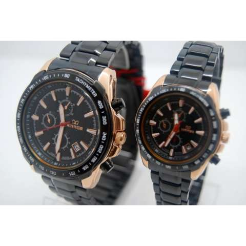 Mirage Jam Tangan Couple 8305-Hitam Rosegold