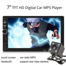 Mobil 7018B 2 DIN 7 Inci Di Dasbor Bluetooth Audio Mobil Stereo Audio Layar Sentuh MP3 MP5 Pemain