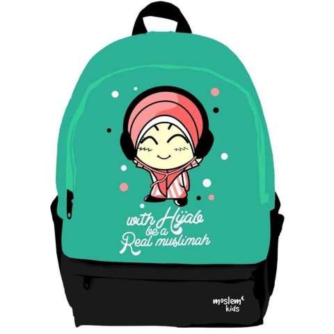 "Moslem Kids Tas Ransel Anak Cewek ""With Hijab be a Real Muslimah"" Untuk SD"