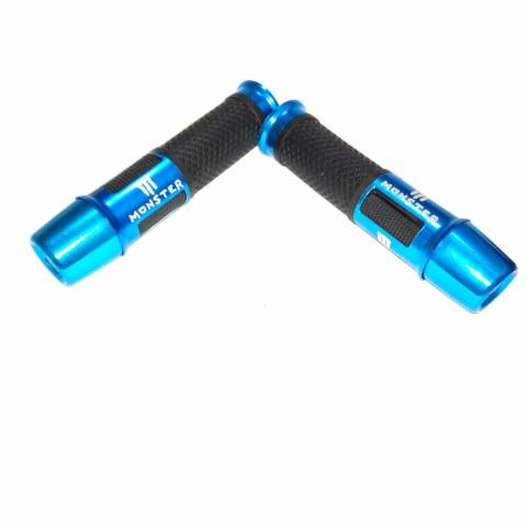 Motorcycle Hand Grips Cover Karet Gas Anti Slip - Grip Model Monster Jalu panjang Bahan Aluminium dan Karet - Biru 3