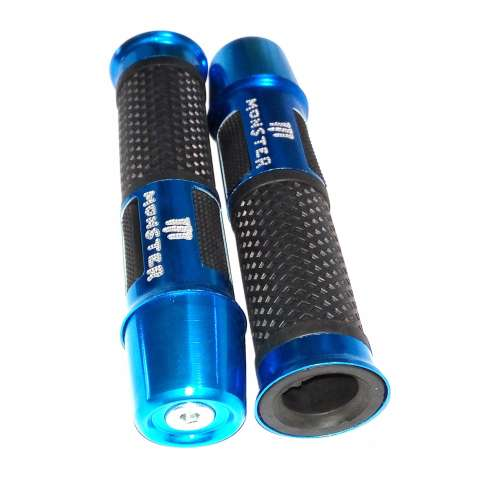 Motorcycle Hand Grips Cover Karet Gas Anti Slip - Grip Model Monster Jalu panjang Bahan Aluminium dan Karet - Biru 1