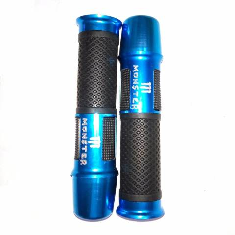 Motorcycle Hand Grips Cover Karet Gas Anti Slip - Grip Model Monster Jalu panjang Bahan Aluminium dan Karet - Biru 2