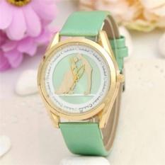 MS Lovers Kiss Pattern Women Leather Band Watches Sport Analog LadyQuartz Tanggal Wrist Watch (Hijau)-Intl